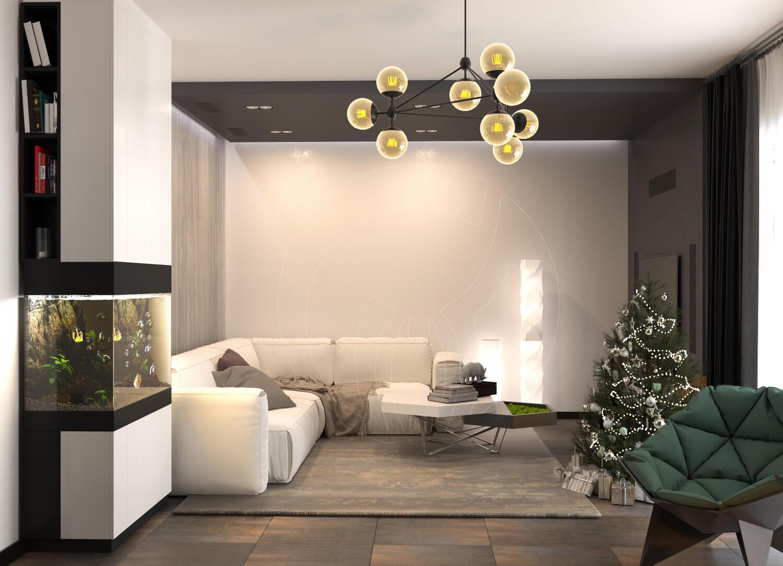Гостиная в современном стиле (минимализм). На фото зона отдыха, аквариум и новогодняя ёлка