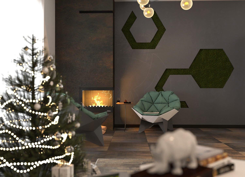 Гостиная в современном стиле (минимализм). На фото камин и стабилизированный мох