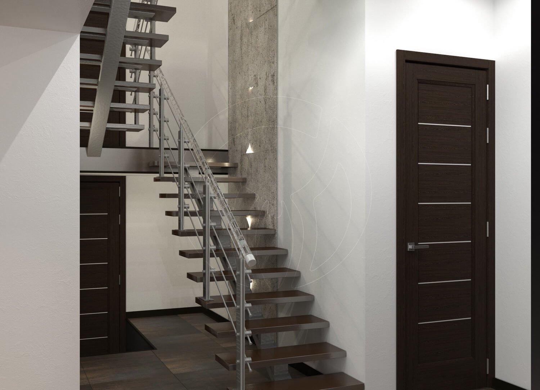 Коридор и лестница в современном стиле (минимализм). Ступени из дерева