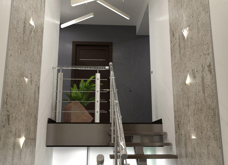 Коридор и лестница в современном стиле (минимализм). Поручни из акрилла