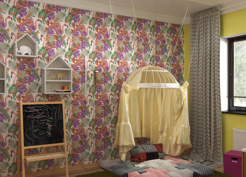 """Игровая комната для девочки в стиле """"Алиса в зазеркалье"""". На фото стилизованый шатёр и мольберт"""