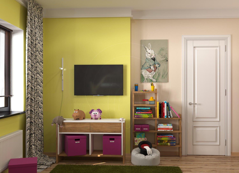 """Игровая комната для девочки в стиле """"Алиса в зазеркалье"""". На фото TV зона и стеллаж"""