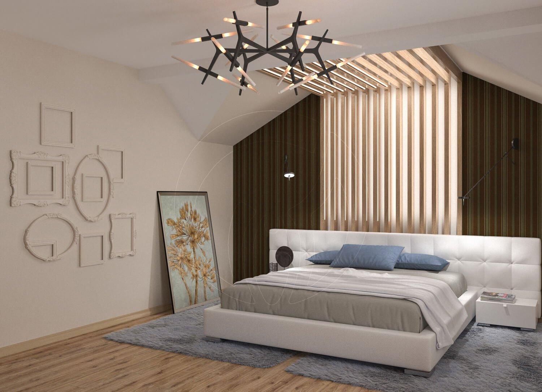 Коттедж в современном стиле с. Новое. Спальня со скрытой подсветкой и деревянными балками 5