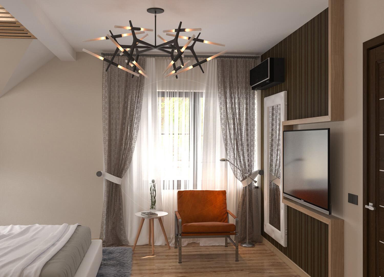 Коттедж в современном стиле с. Новое. Спальня со скрытой подсветкой и деревянными балками 4