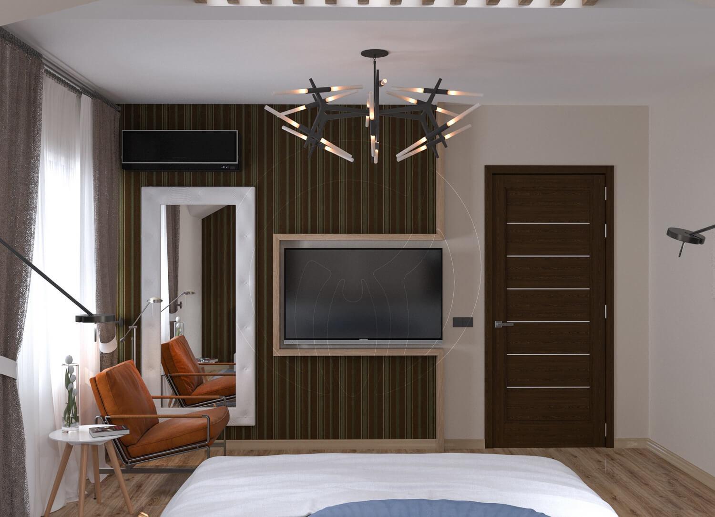 Коттедж в современном стиле с. Новое. Спальня со скрытой подсветкой и деревянными балками 3