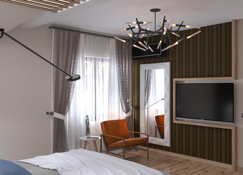 Коттедж в современном стиле с. Новое. Спальня со скрытой подсветкой и деревянными балками 2