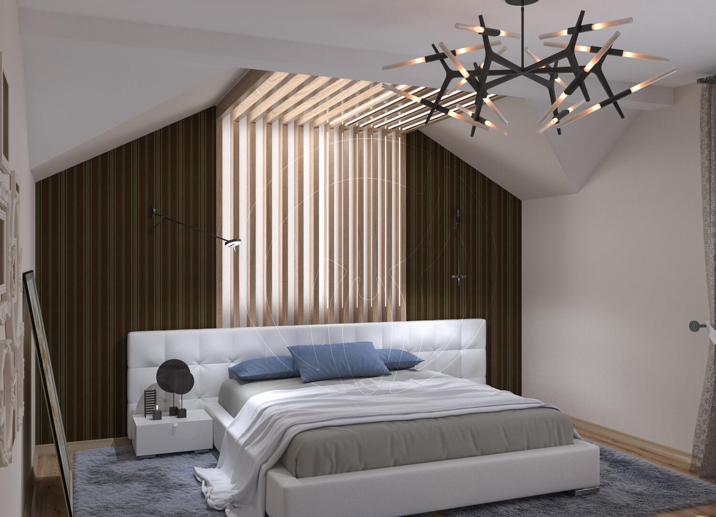 Коттедж в современном стиле с. Новое. Спальня со скрытой подсветкой и деревянными балками.
