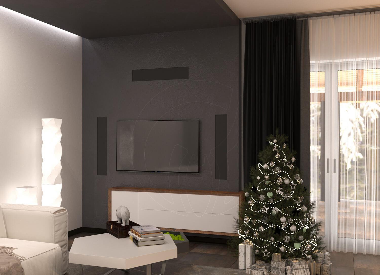 Гостиная в современном стиле (минимализм). На фото ТВ зона и новогодняя елка
