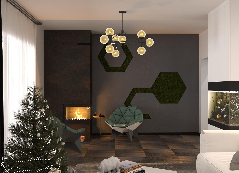 Гостиная в современном стиле (минимализм). На фото камин и стабилизированный мох, аквариум