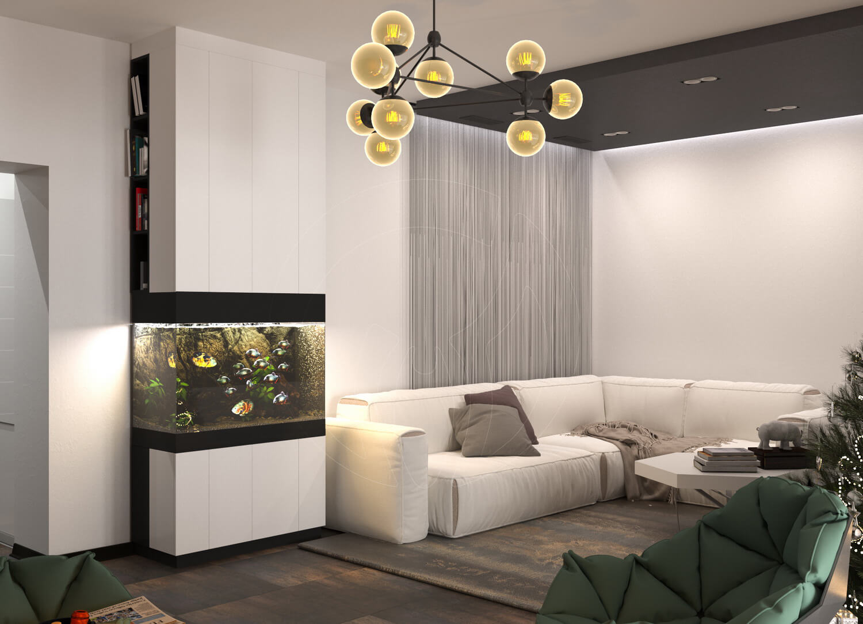 Гостиная в современном стиле (минимализм). На фото зона отдыха и аквариум
