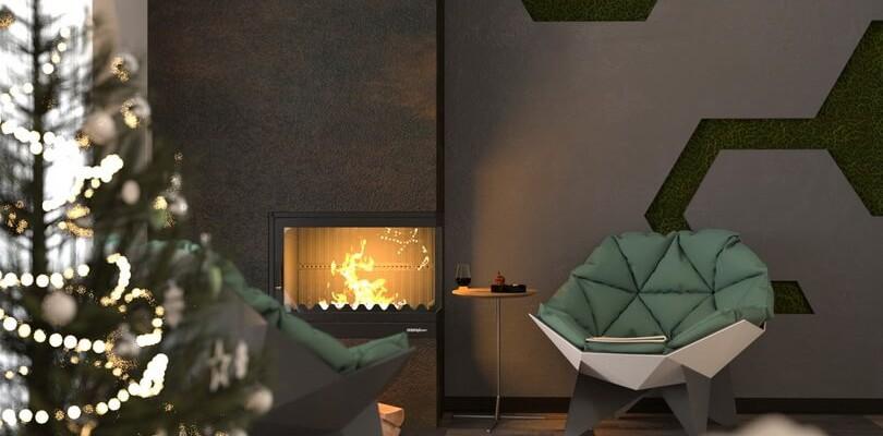 Коттедж в современном стиле (минимализм). Визуализация. Фото гостиной, спальни и игровая комната