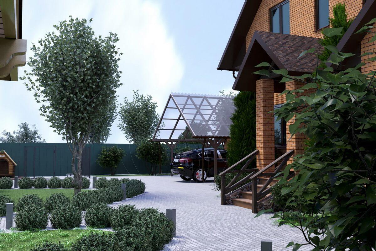Экстерьер коттеджа. Ландшафтный дизайн. Планирование участка. Передний двор