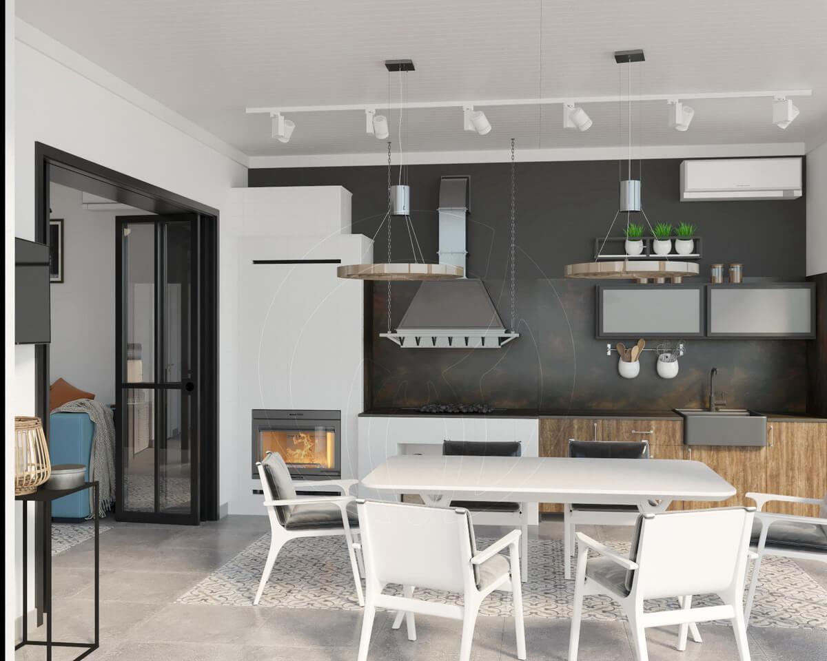 Сауна в стиле Loft / Industrial. Кухня/столовая с камином и мангалом.