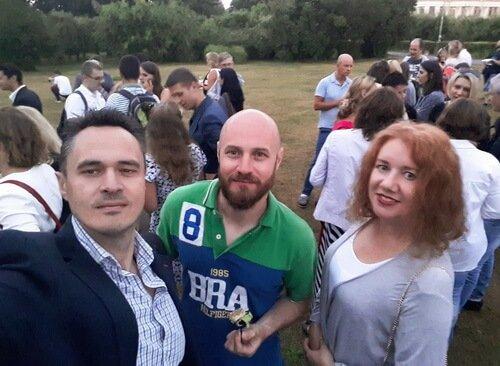 Вечеринка закрытия Prostoneba. Дизайнеры Виктор и Ольга Цвиль вместе с Дмитрием Игнатовым