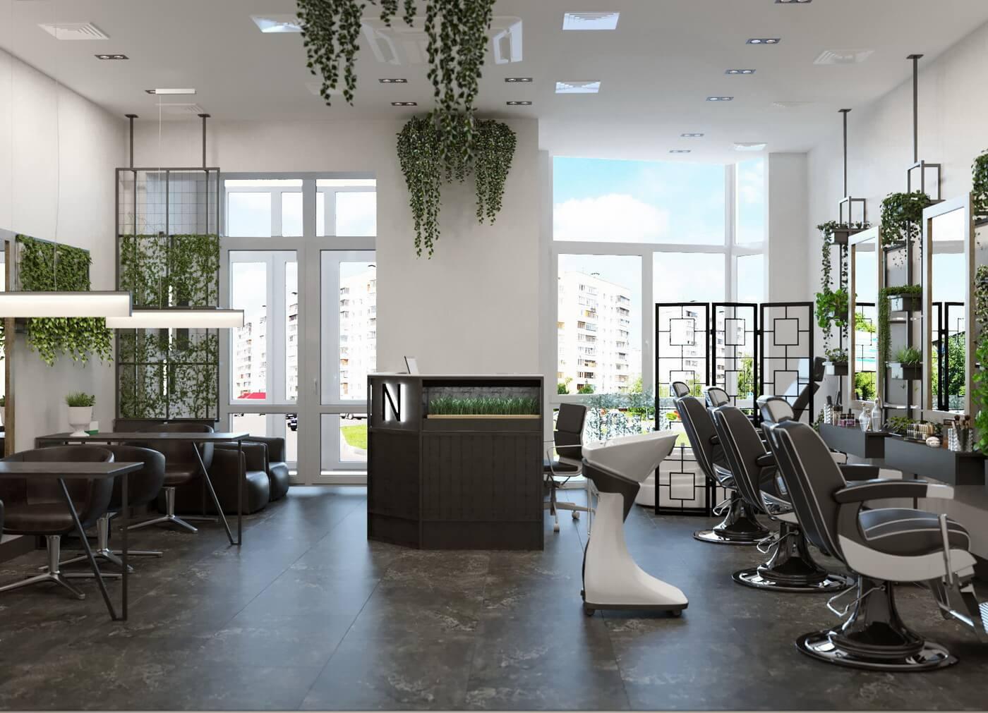 """Салон красоты """"Ninel"""". Основной зал: парикмахерская, маникюр, педикюр, стойка администратора, место для ожидания"""