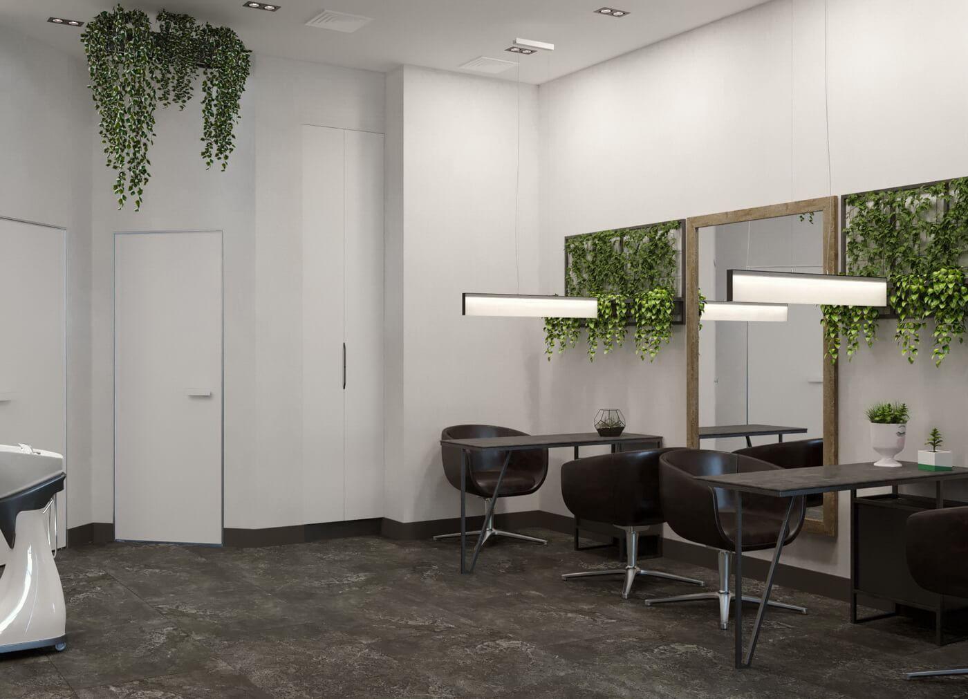 """Салон красоты """"Ninel"""". Маникюрные столы в стиле Loft. скрытые двери шкафа, межкомнатные двери без наличника"""