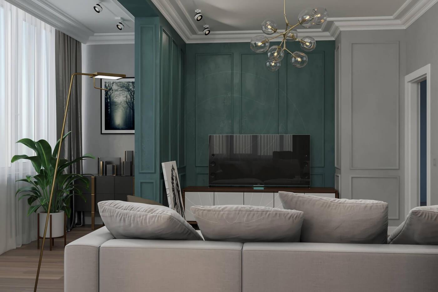 """Квартира в стиле """"современная классика"""". Гостиная в современной классике"""