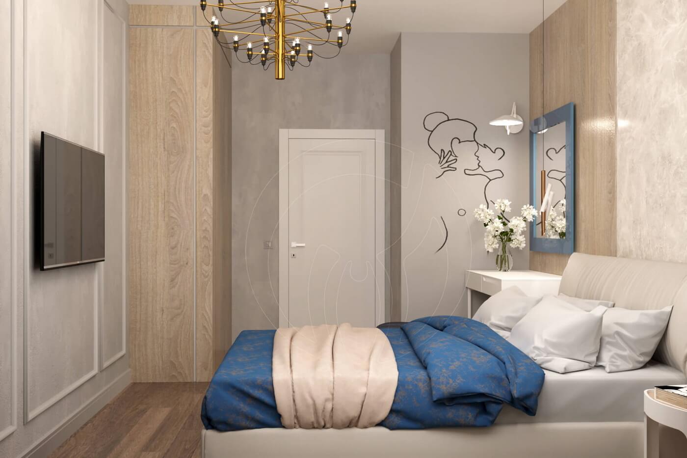 """Квартира в стиле """"современная классика"""". Спальня в современной классике. Панели для стен"""