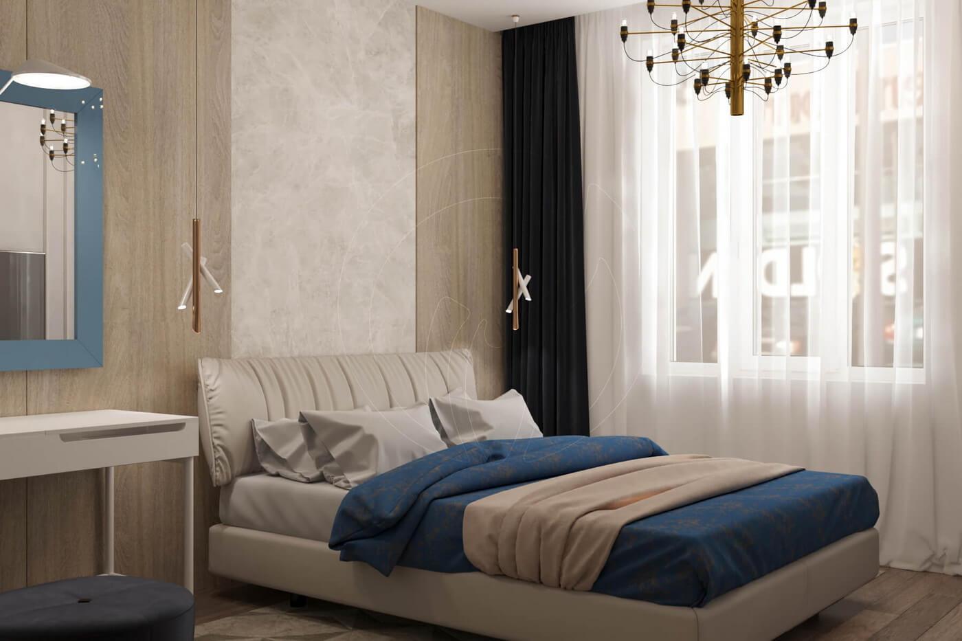 """Квартира в стиле """"современная классика"""". Спальня в современной классике. Стеновые панели"""