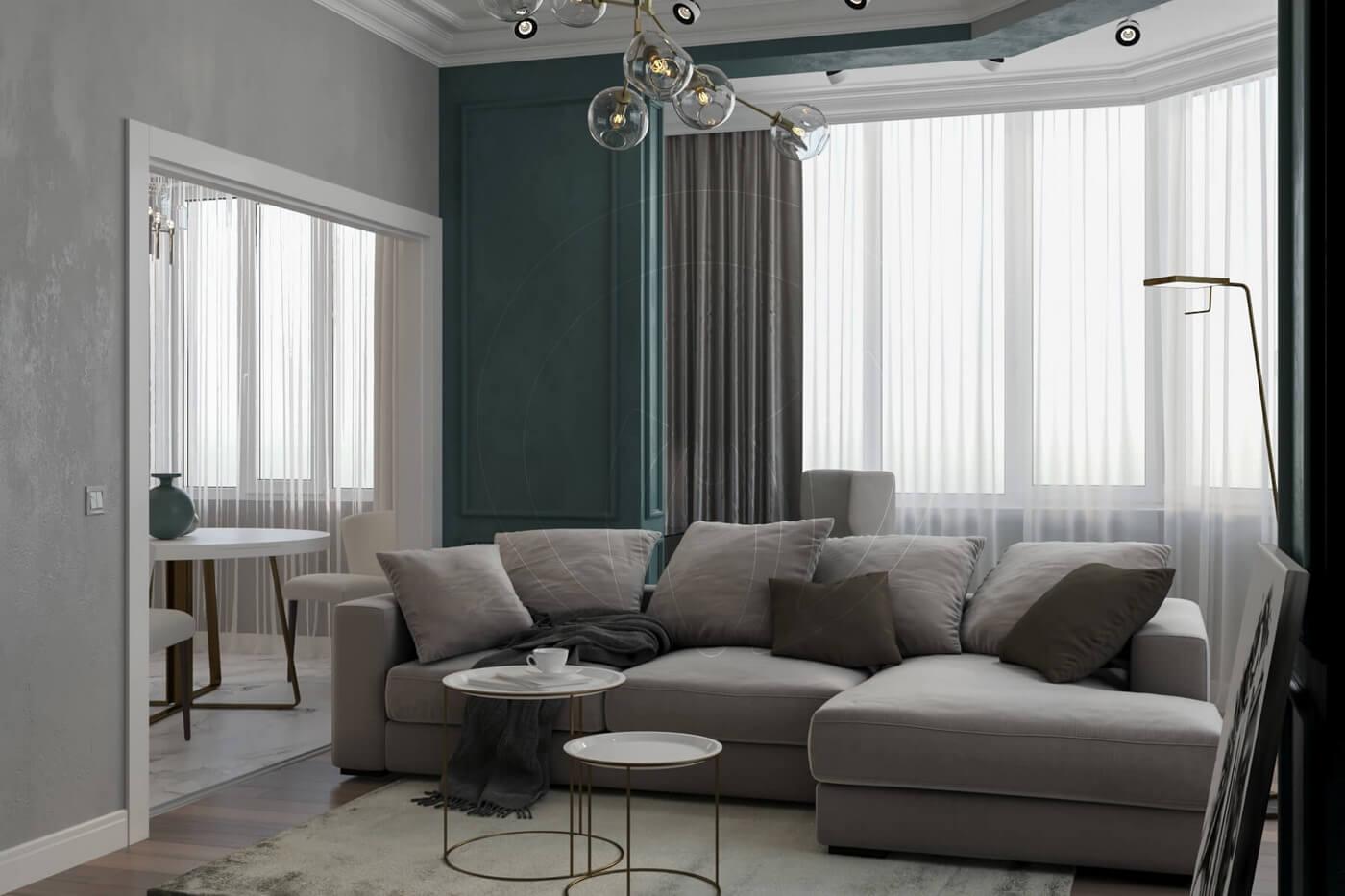 """Квартира в стиле """"современная классика"""". Гостинаяс балконом в современной классике"""