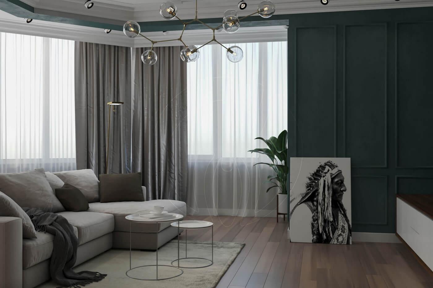 """Квартира в стиле """"современная классика"""". Гостиная в современной классике. Стеновые панели."""