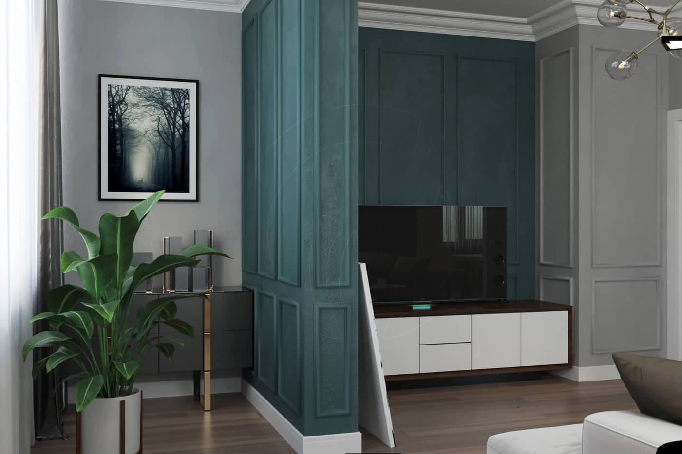 """Квартира в стиле """"современная классика"""". Гостиная- студия в современной классике"""