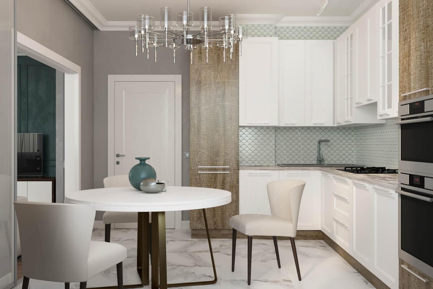 """Квартира в стиле """"современная классика"""". Кухня в современной классике. Белая кухня"""