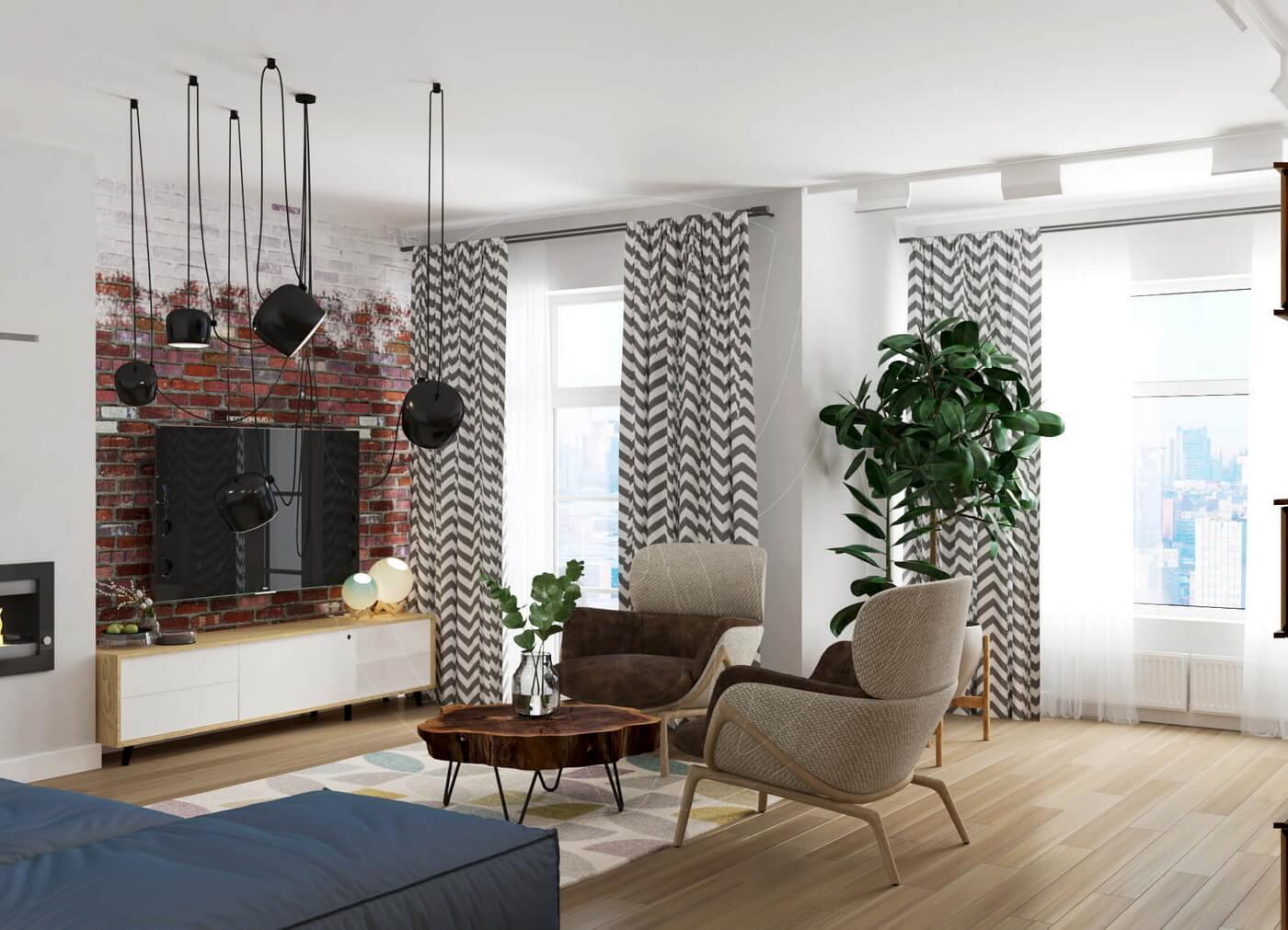 Квартира в скандинавском стиле и стиле LOFT. Гостиная в скандинавском стиле, красный кирпич