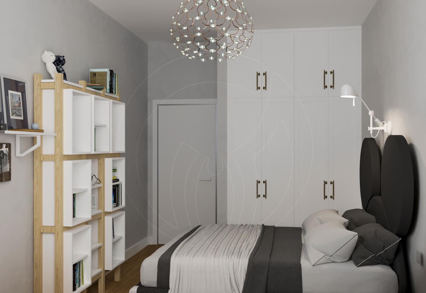 Квартира в скандинавском стиле и стиле LOFT. Детская комната в скандинасском стиле. Белый шкаф
