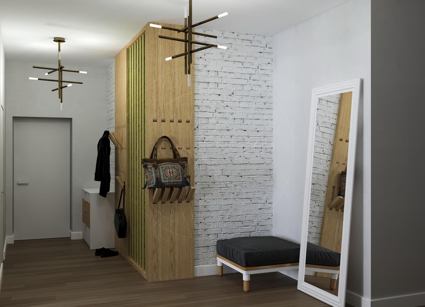 Квартира в скандинавском стиле и стиле LOFT. Прихожая. Деревянная вешалка для одежды