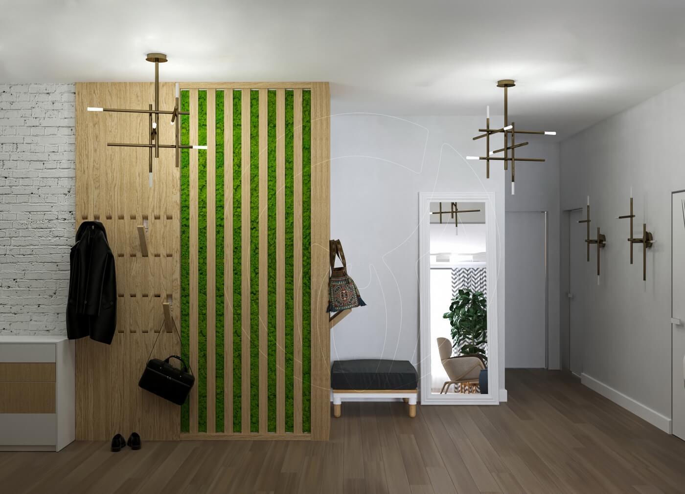 Квартира в скандинавском стиле и стиле LOFT. Прихожая. Вешалка. Экостиль. Стабилизированный мох