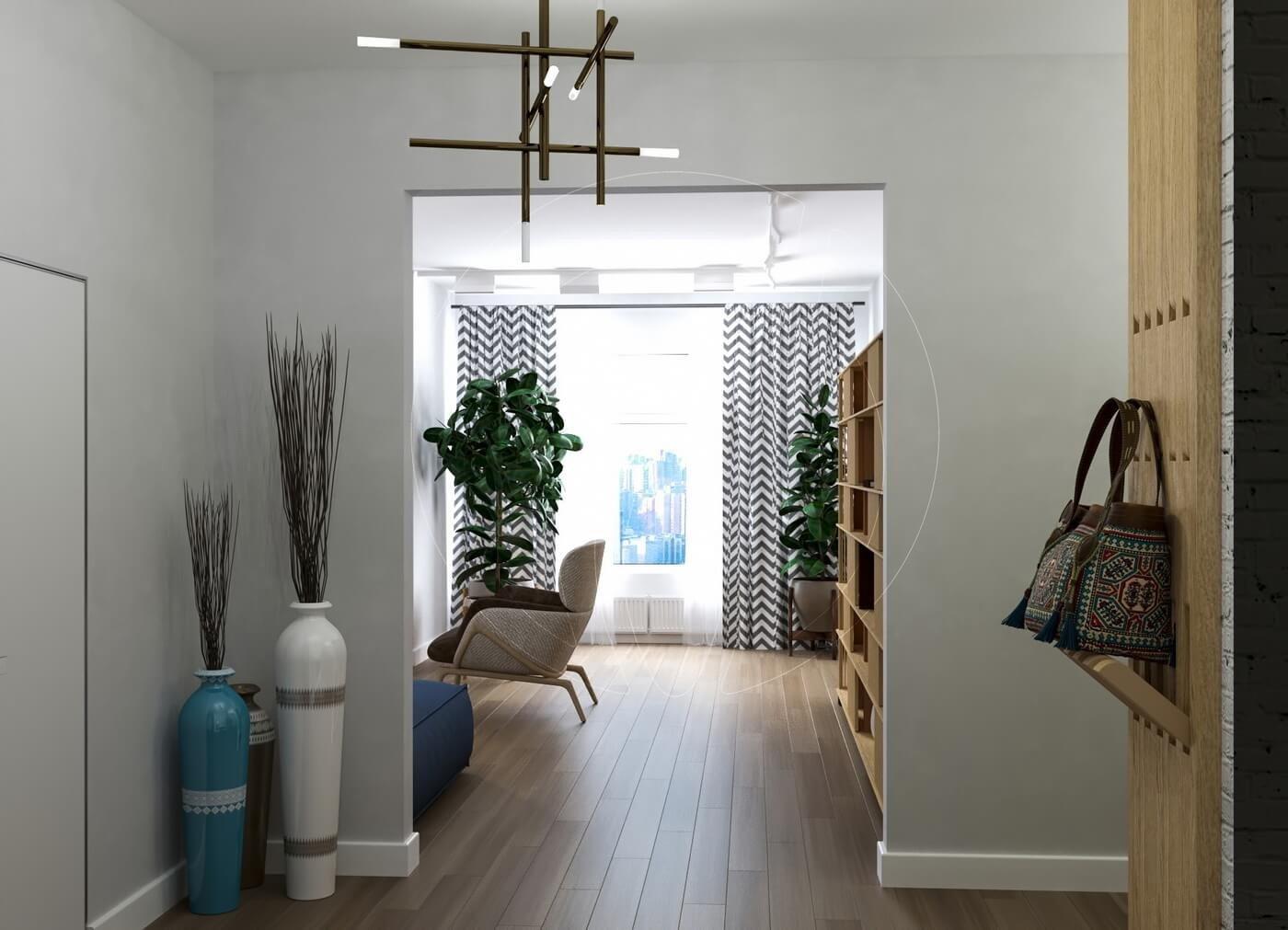 Квартира в скандинавском стиле и стиле LOFT. Прихожая и коридор