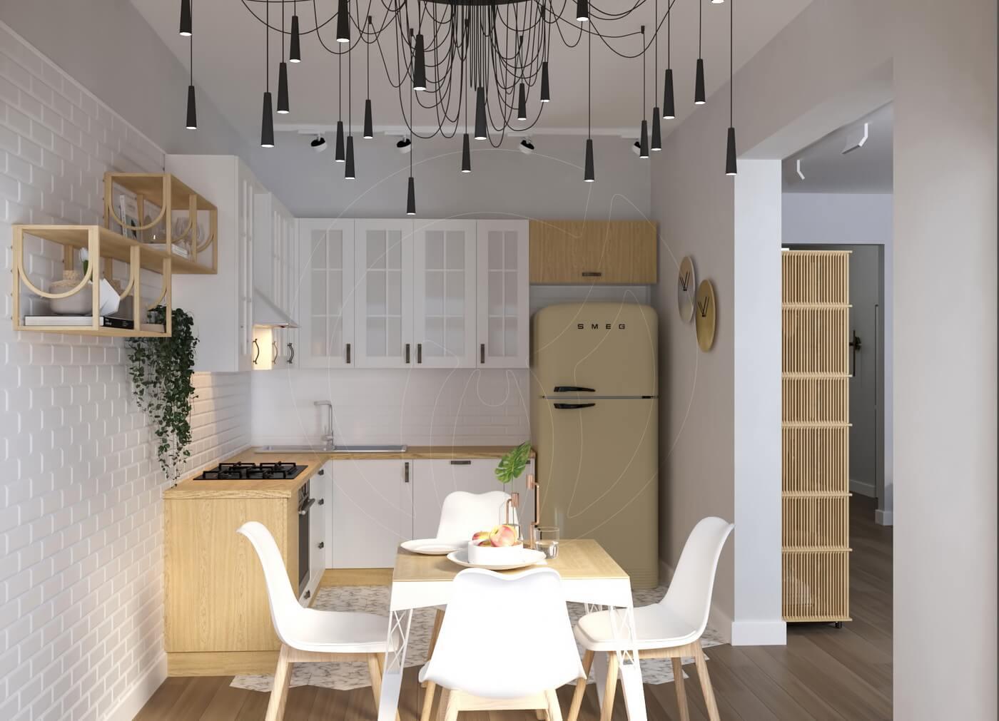 Квартира в скандинавском стиле и стиле LOFT. Белая кухня