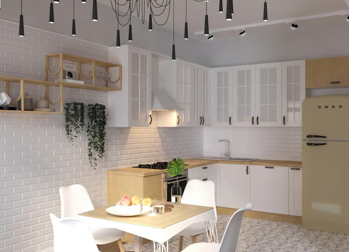 Квартира в скандинавском стиле и стиле LOFT. Кухня, бытовая техника SMEG