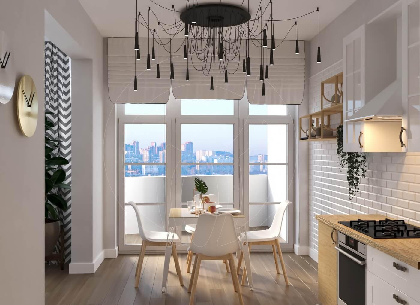 Квартира в скандинавском стиле и стиле LOFT. Кухня, обеденный стол
