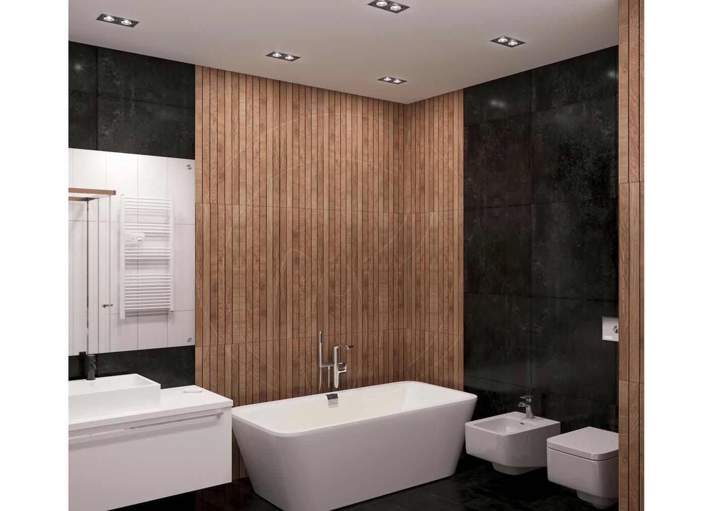 Квартира в скандинавском стиле и стиле LOFT. Санузел, ванна, плитка Porcelanosa