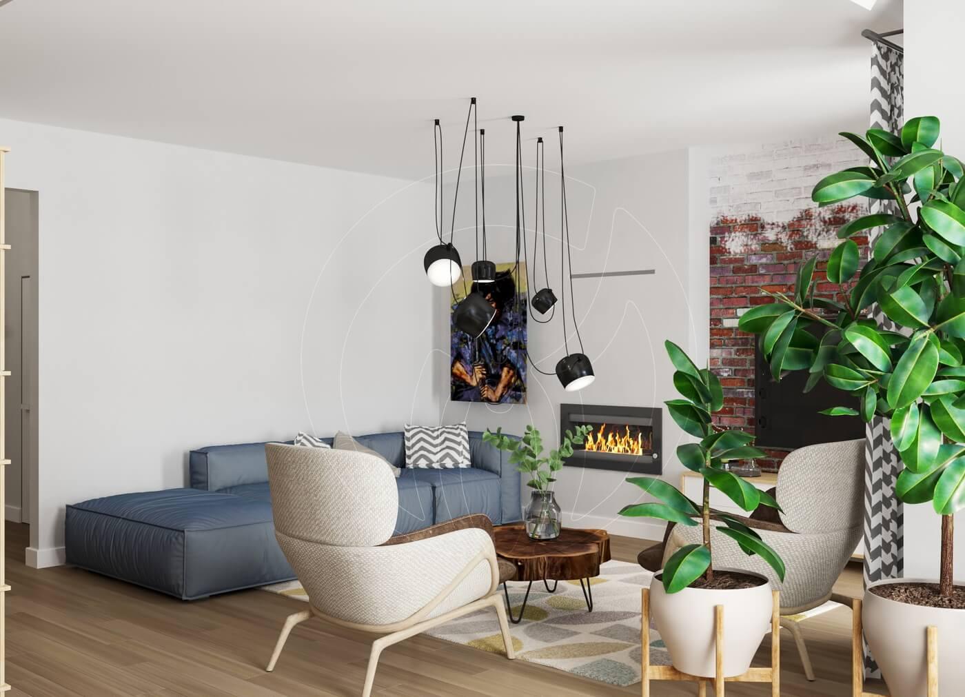 Квартира в скандинавском стиле и стиле LOFT. Гостиная с камином в скандинавском стиле