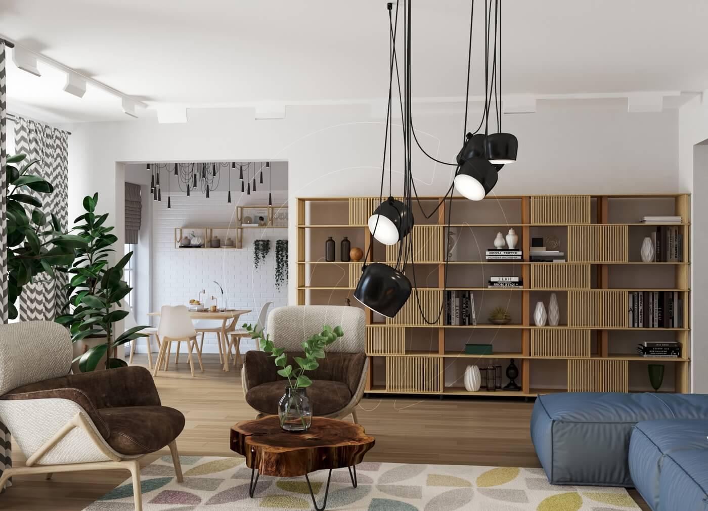 Квартира в скандинавском стиле и стиле LOFT. Гостиная в скандинавском стиле