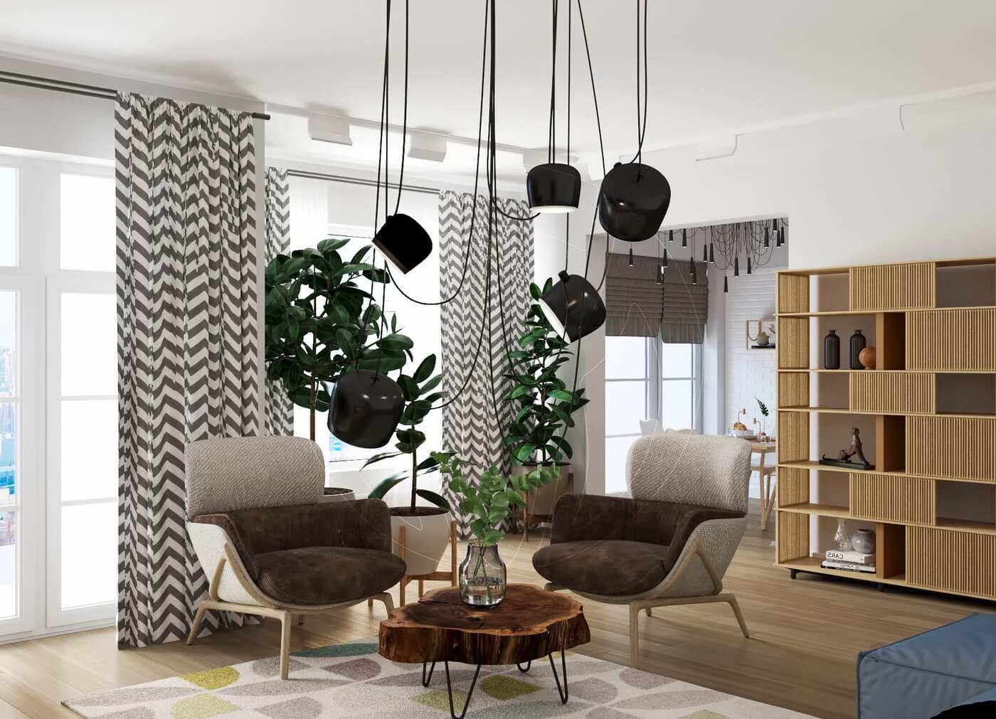 Квартира в скандинавском стиле и стиле LOFT. Гостиная в белом цвете