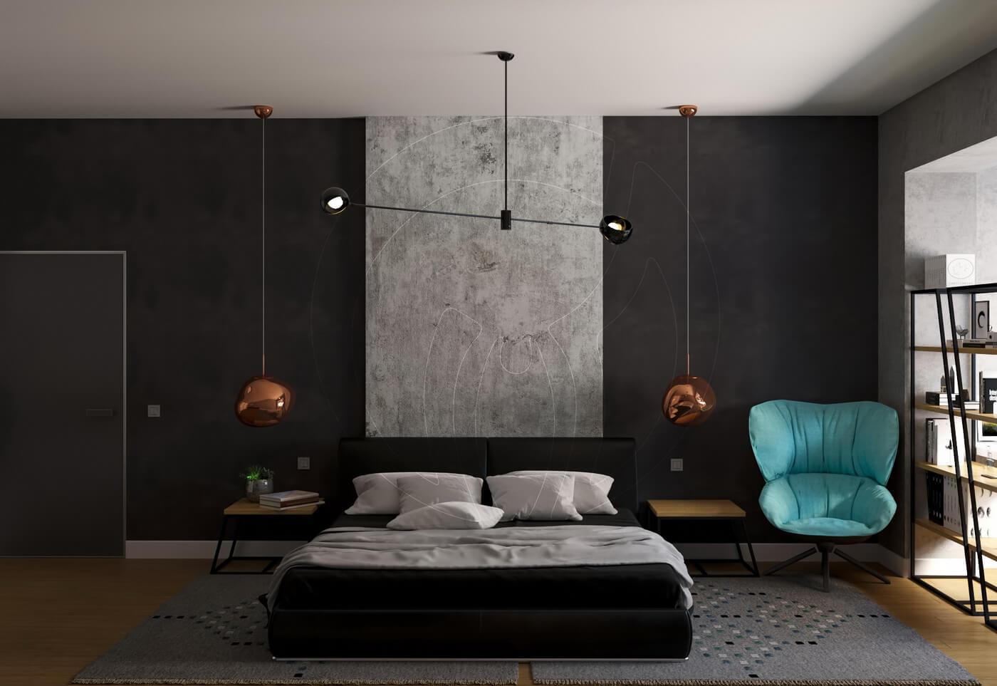 Квартира в скандинавском стиле и стиле LOFT. Спальня в стиле loft с черной кроватью