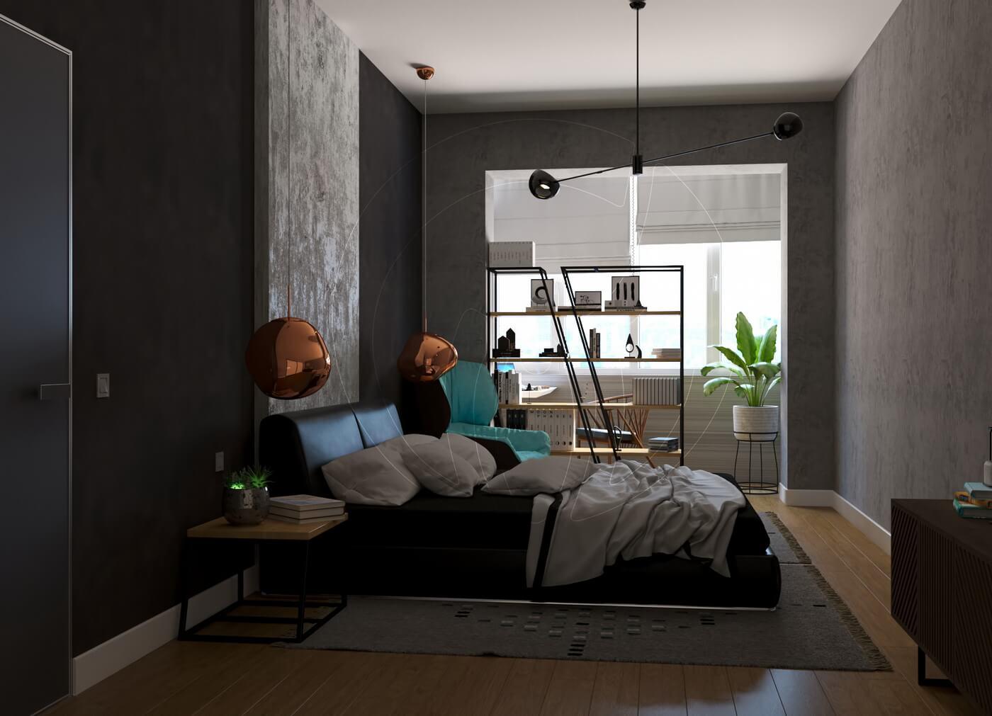 Квартира в скандинавском стиле и стиле LOFT. Спальня в стиле loft