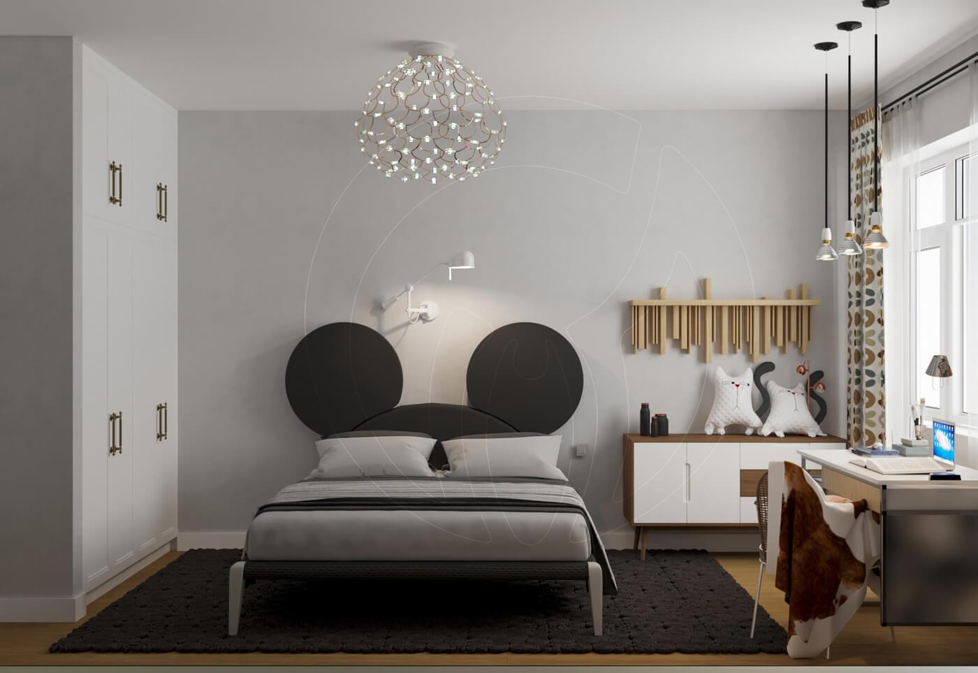 Квартира в скандинавском стиле и стиле LOFT. Детская комната в скандинавском стиле, кровать Mikki