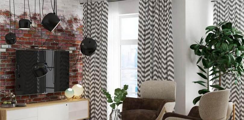 Квартира в скандинавском стиле и стиле LOFT. Гостиная с камином и кирпичной кладкой