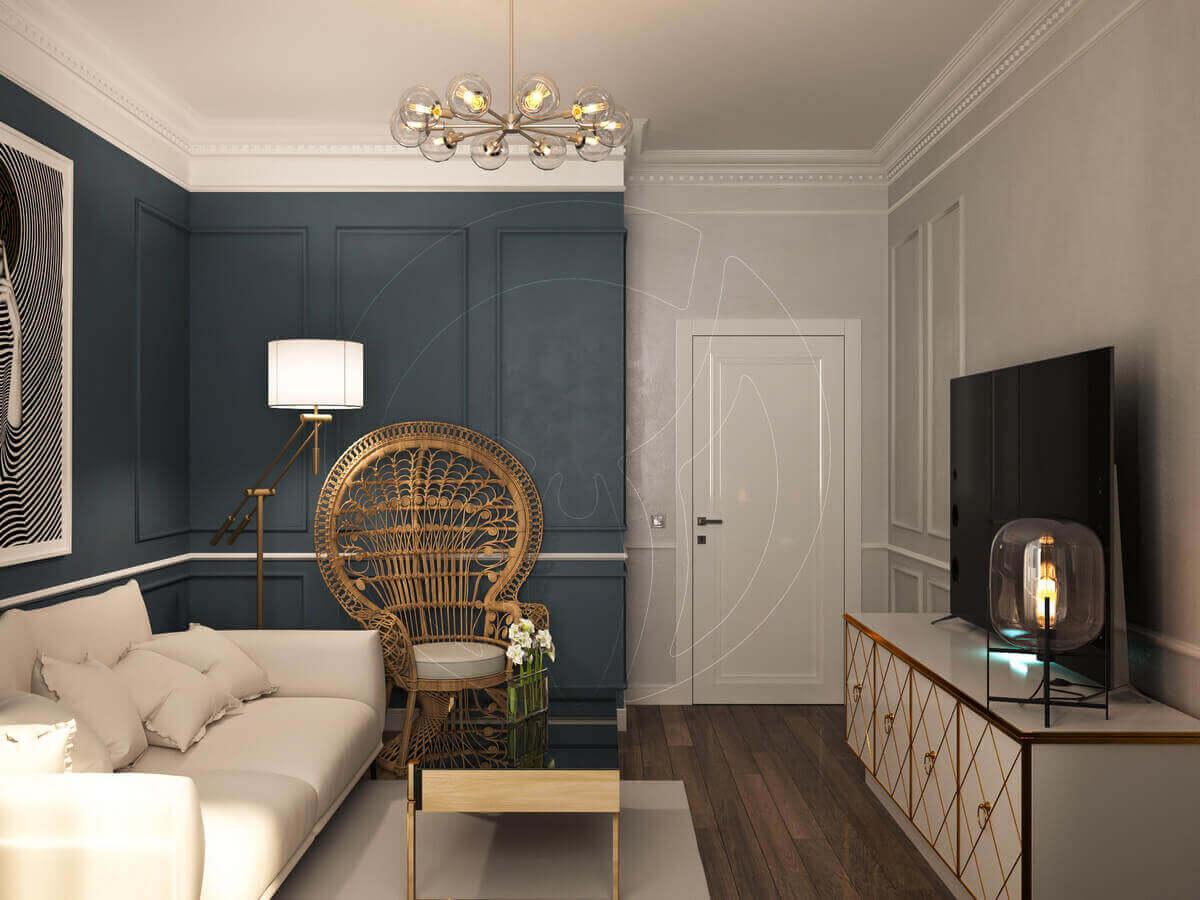 Квартира в современной классике. Гостиная.