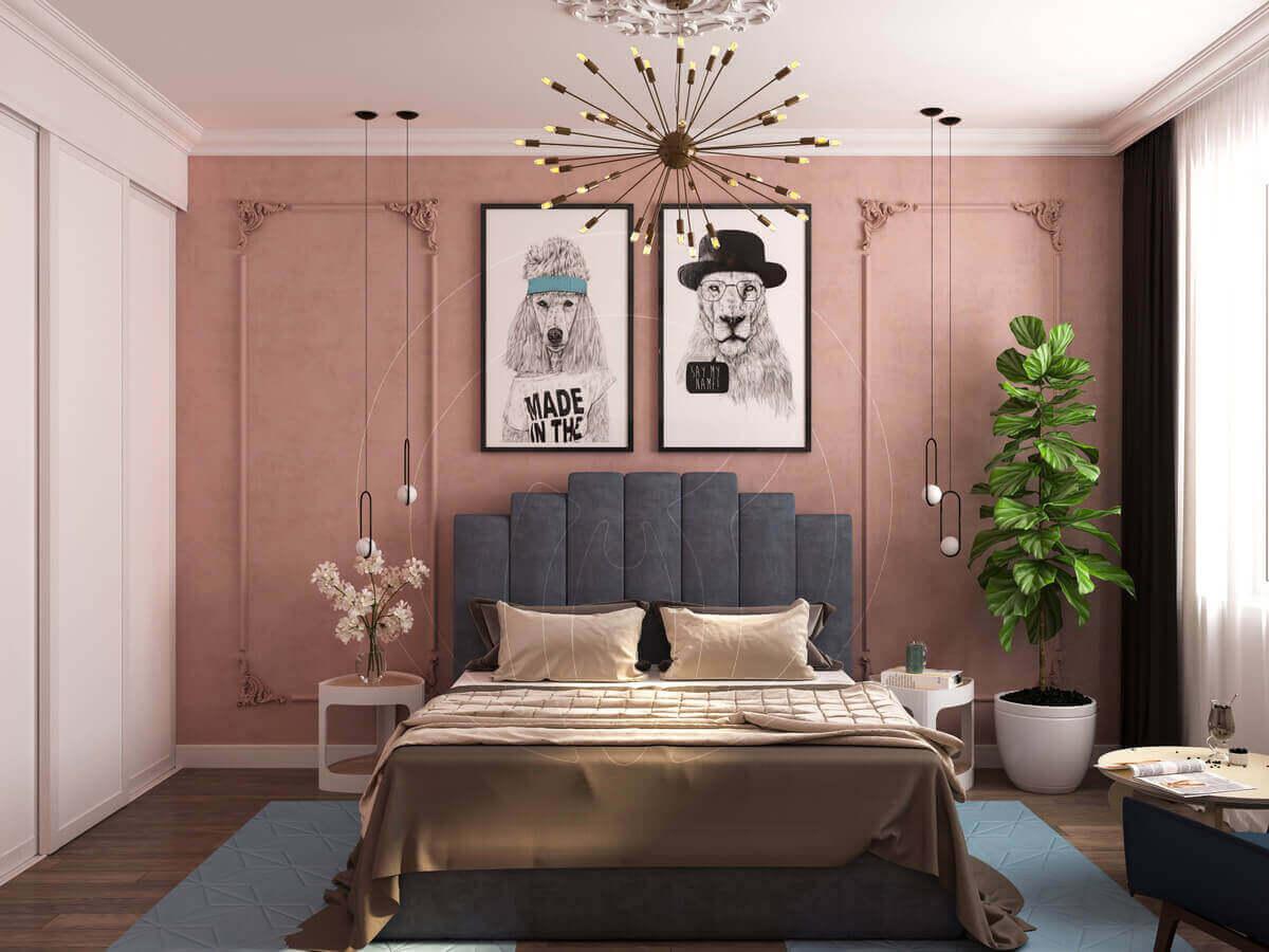 Квартира в современной классике. Спальня. Кровать