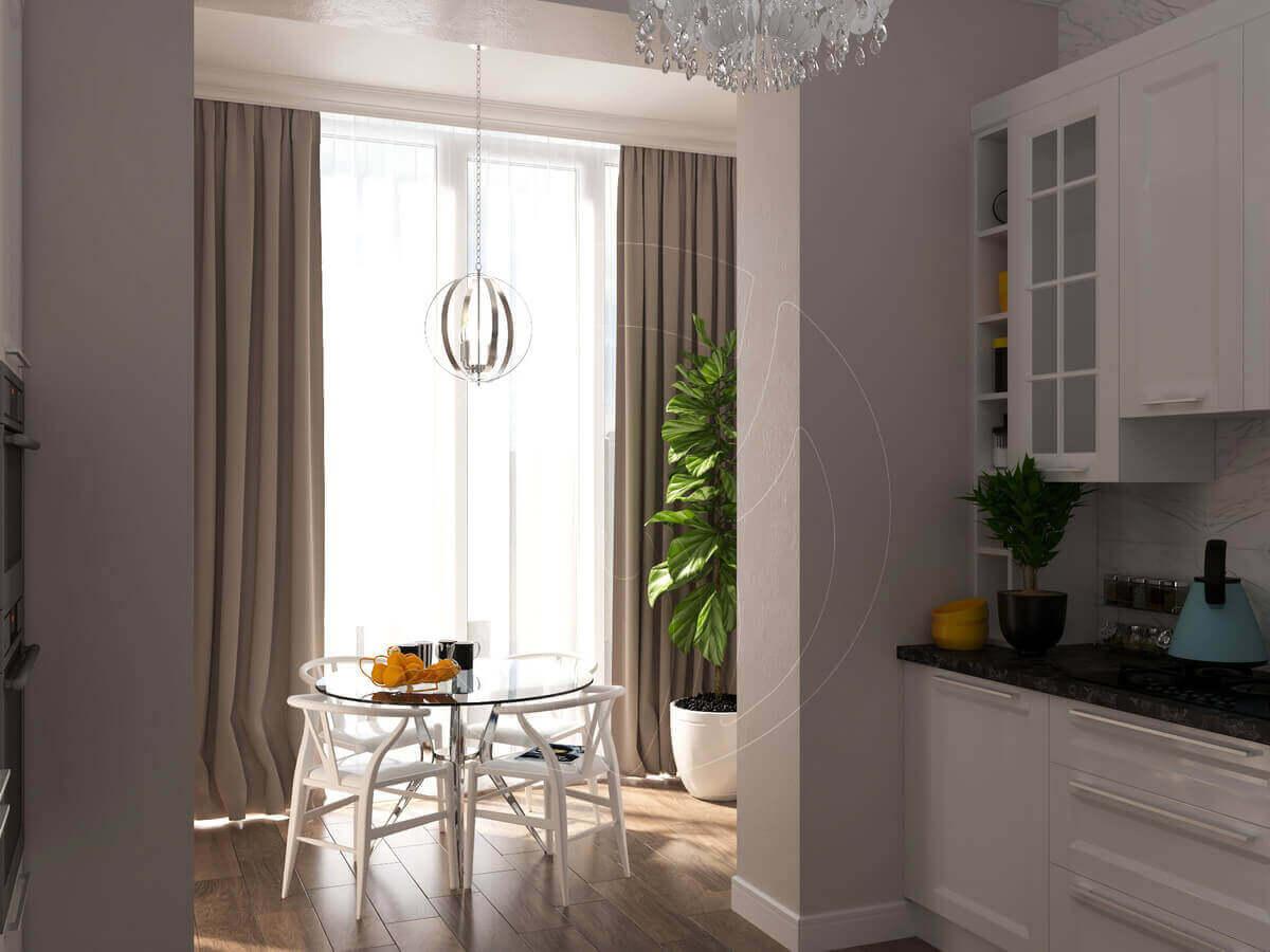 """Квартира в стиле """"современная классика"""". Кухня и балкон"""