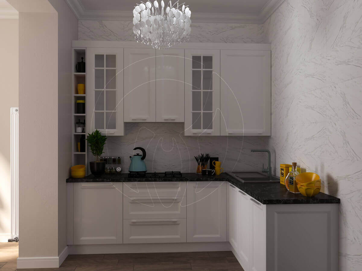 """Квартира в стиле """"современная классика"""". Кухня в белом цвете"""