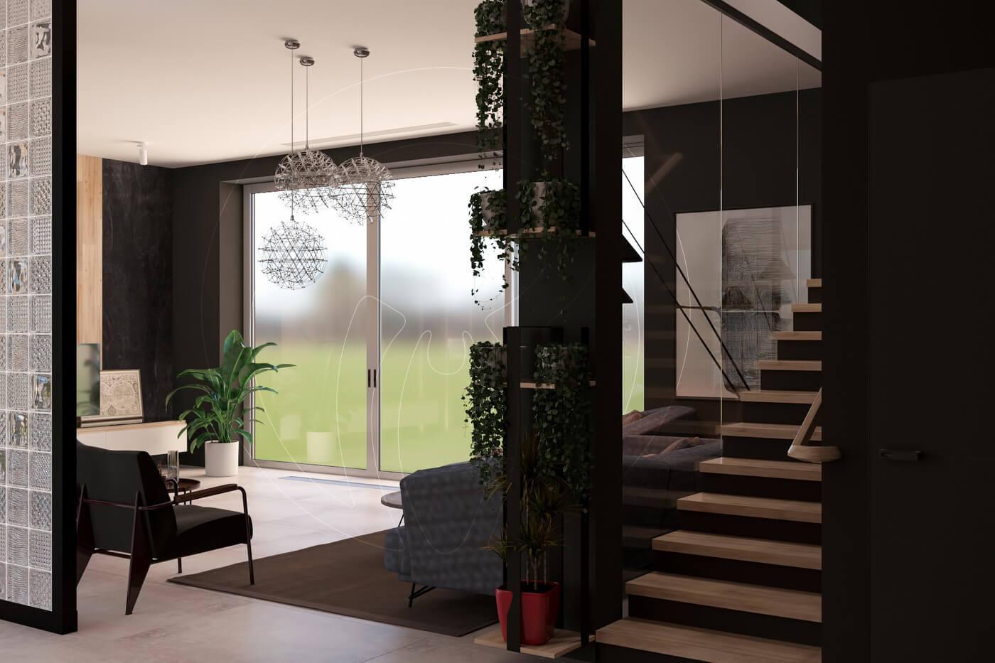 Загородный дом в современном стиле. Гостиная. Вид на лестницу