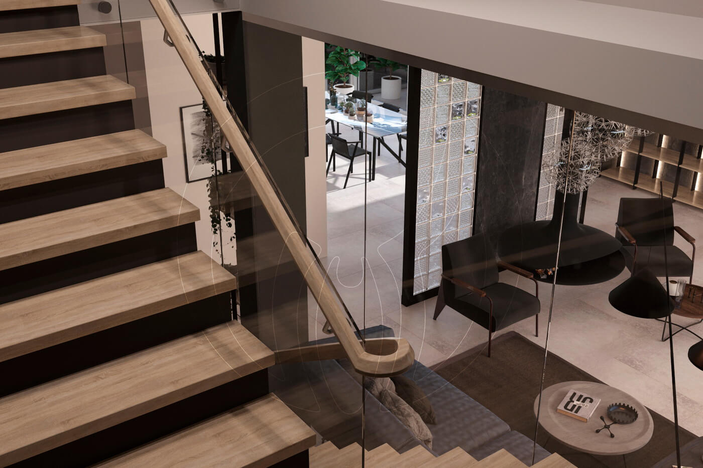 Загородный дом в современном стиле. Гостиная. Лестница