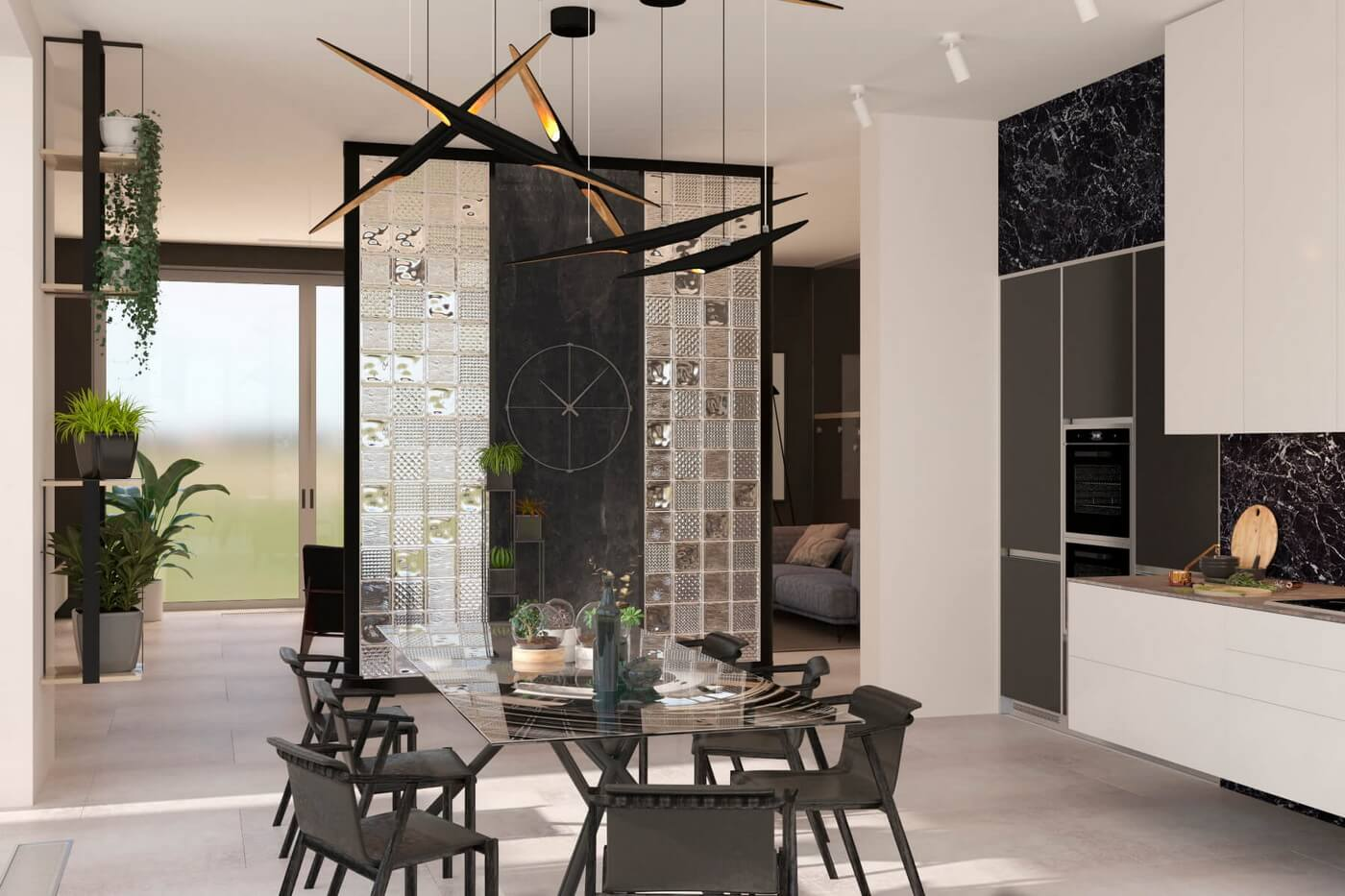 Загородный дом в современном стиле. Кухня. Обеденный стол